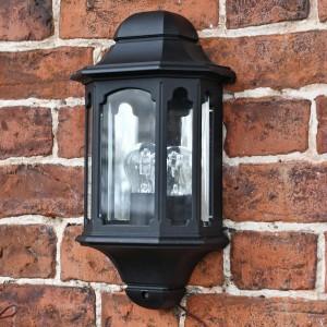 Black Moorside Traditional Flush wall lantern on brick wall
