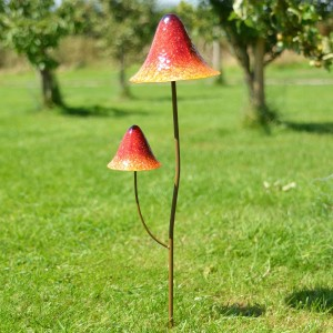 Bright Orange Double Head Mushroom Garden Spike