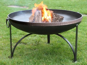 Simple Kadai Fire Bowls with Mosaic Bands - 60cm +