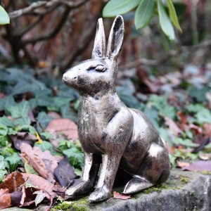 Gold Finish Sitting Rabbit Sculpture