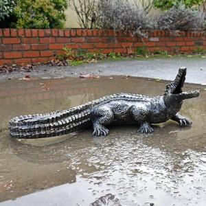 Antique Bronze Baby Alligator Sculpture