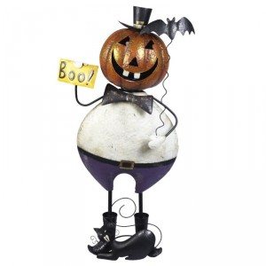 Large Standing Pumpkin Waiter with Boo Sign