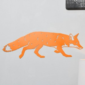 Orange Fox Wall Art in Situ on a White Wall