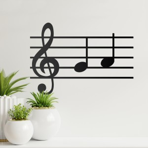 Musical Notes Steel Wall Art on a White Wall