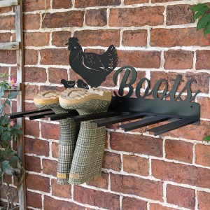 Wall Mounted Hen & Chicks Iron Boot Holder in Situ Holding Wellys