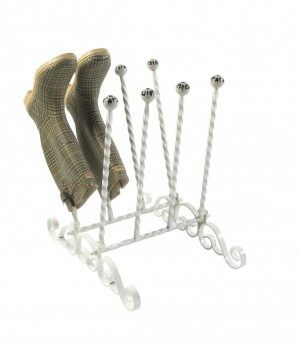 """Evesall"" Cream 4 Pair Ornate Boot Rack"