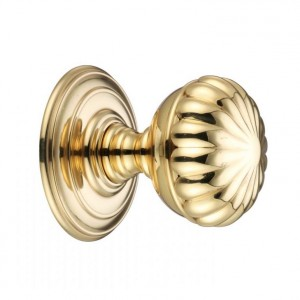 """Valencia"" Polished Brass Flowered Mortice Knob Set"