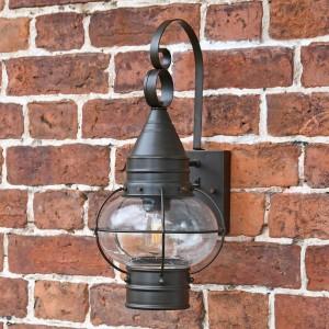 Vintage Round Caged Wall Lantern in Situ