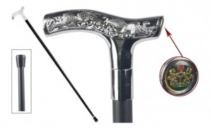 Coat of Arms Polished Steel Walking Stick