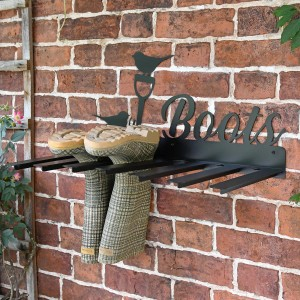 Wall Mounted Robin Iron Boot Holder in Situ Holding Wellys