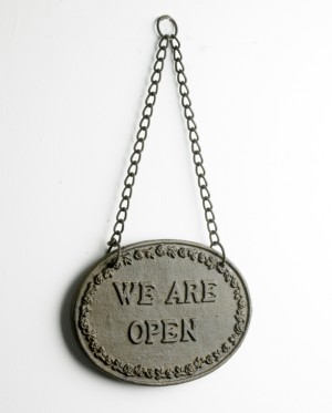 """We Are Open"" Hanging Shop Sign"