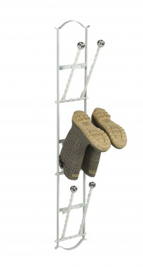 Cream 3 pair boot rack with folding bars
