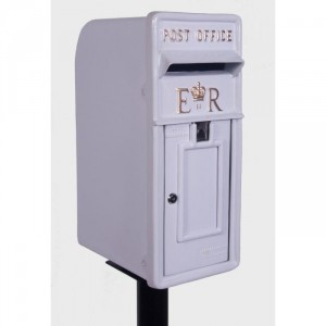 'Original Reproduction' Elizabeth Regina Post & Parcel Box With Stand Finished in White