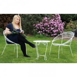 """""""Wesley Park"""" Petite Garden Table and Chairs Finished in White"""