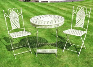 """Four Acres"" White Lattice Style Table & Chair Set"