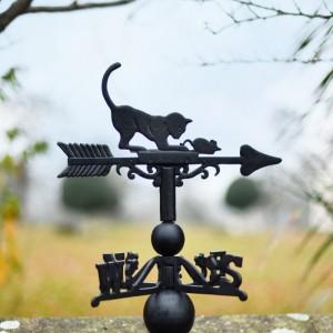 Cast Iron Cat & Mouse Weathervane Topper