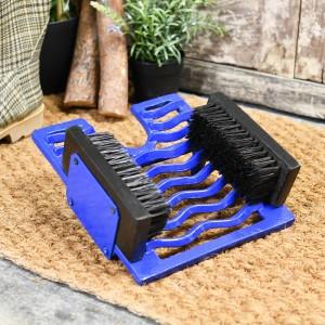 Bright Blue three in one boot brush, jack and scraper on door matt