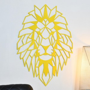 Geometric Lion Steel Wall Art on a White Wall