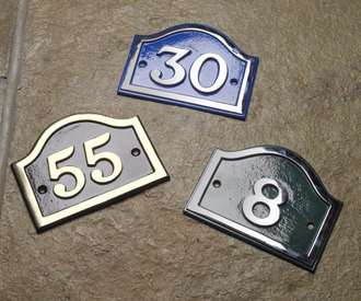 Brass arched house number signs black country metal works for Front door number plaques