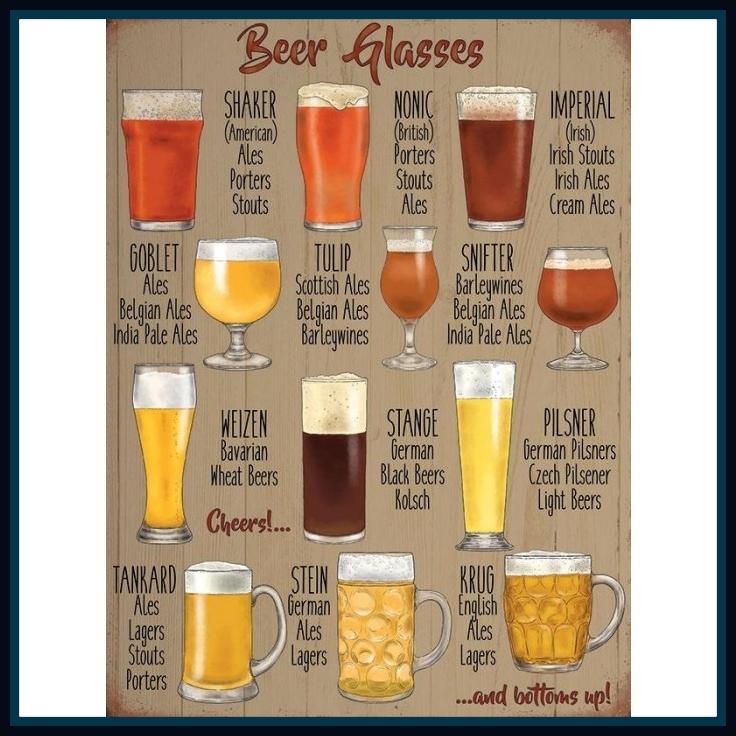 Beer Glasses Metal Sign