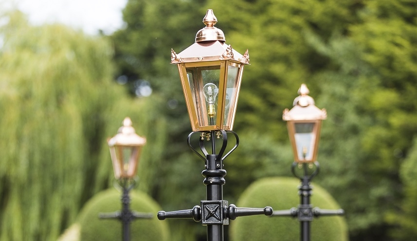 2.3m Tall Copper Victorian Garden Lamp Posts
