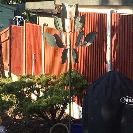 Verdigris Leaf Design Wind Spinner
