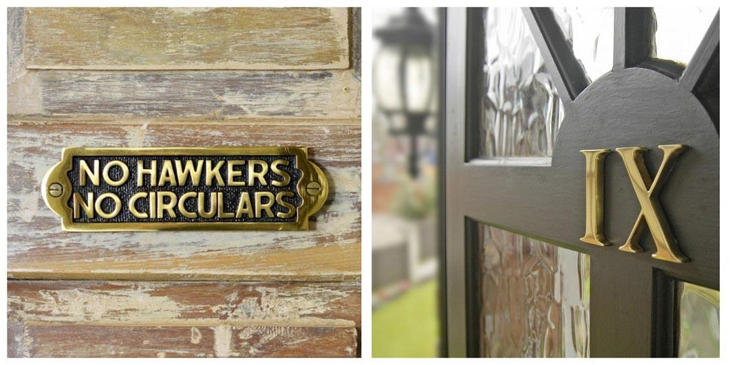 Polished Brass House Signs