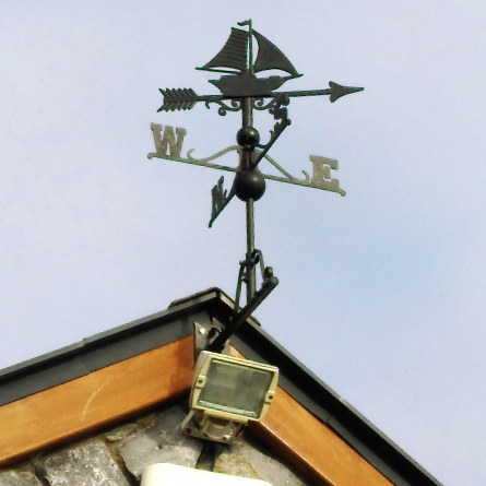 Black iron sail boat weathervane