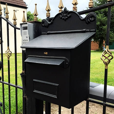 Dominic Goldhay Parcel Box Installed on gates