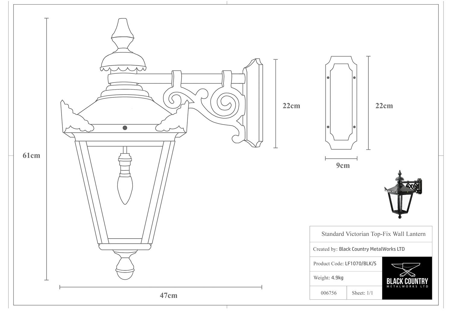Standard Victorian Top-Fix Wall Lantern Technical Drawing