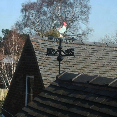 Hand Painted Rooster Weathervane in Cast Iron