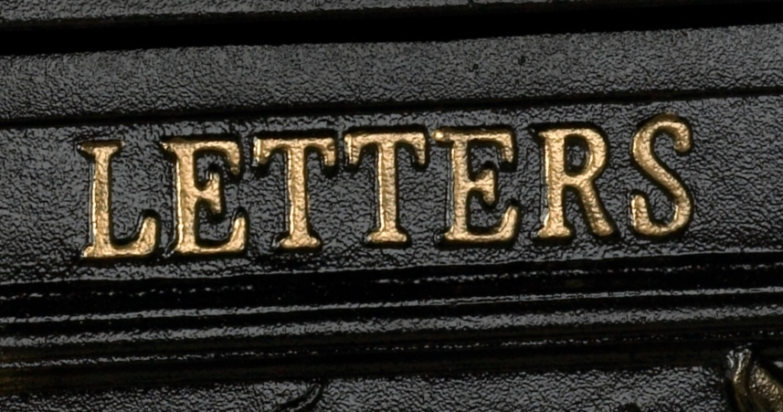 Close up of gold letters