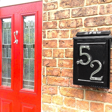 """Charlton Grange"" Wall Mounted Post Box with Polished Brass Lettering"