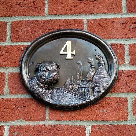 House Number - Bronze Finish - Staffordshire Bull Terrier - House Sign