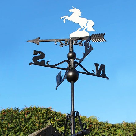 Unicorn Weathervane mounted on a shed