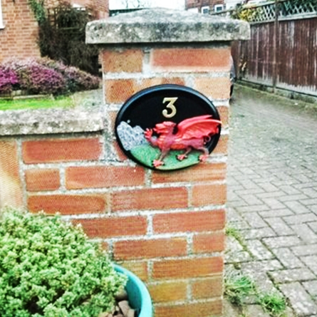 Hand Painted Welsh Dragon House Sign