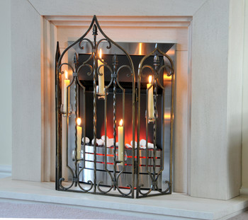 Fireguard with candle holders