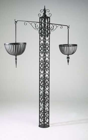 Wexford Free Standing Ornate Wrought Iron Basket Tower