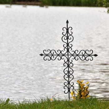 St Paul Wrought Iron Ornate Cross Grave Marker Grave