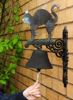 Hand Painted garden Bell - Black Cat