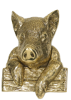Polished Brass Percy Pig Door Knocker