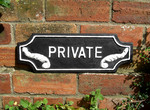 Cast Iron Lozenge Shaped Private Sign