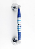 �Blue Tartan� Ceramic Pull Handle