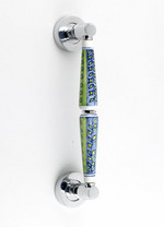 English Meadow Blue and Green Vertical Stripes with Imprint Pull Handle