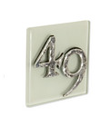Cream Glass House Number Sign