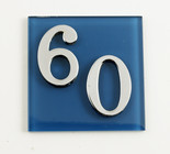 Dark Blue Modern Glass House Number Sign
