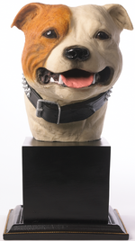 Specially commissioned brown and white Staffordshire Bull Terrier bust