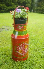 Hand Painted Milk Churn Planters