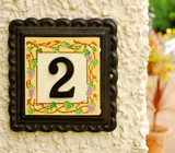Black Iron & Ceramic House Number Plaques