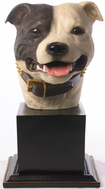 Specially commissioned brown & white Staffordshire Bull Terrier bust
